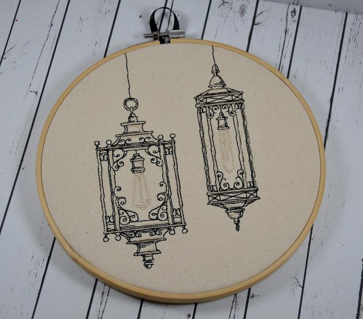 """Victorian Lanterns design, machine embroidered on natural canvas. It is framed in an 8"""" wooden hoop and has a ribbon to hang it on the wall. The back is neatly finished with cream felt to cover the st..."""