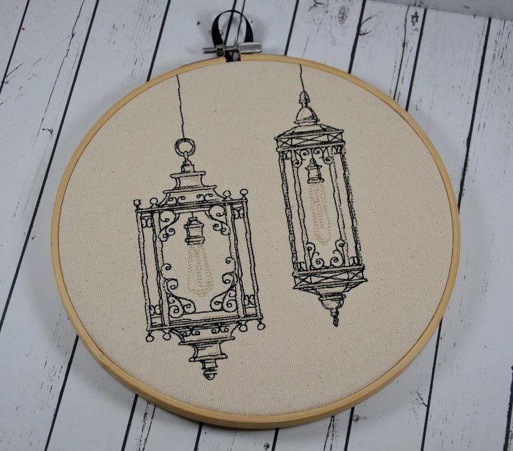Victorian Lanterns Hoop Art - Machine Embroidery