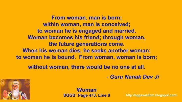 "Guru Nanak Dev Ji on ""Woman"". Sikh Quotes of Wisdom and Inspiration."