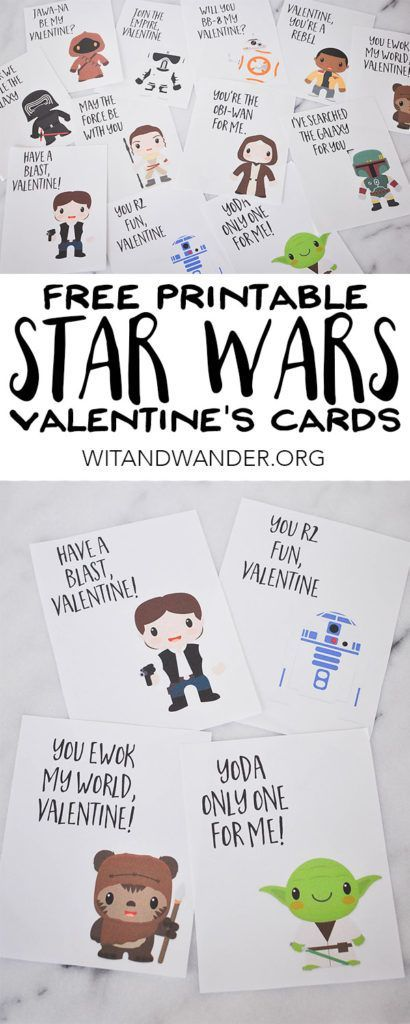 Free Printable Star Wars Valentines Day Cards featuring Yoda, Han Solo, an Ewok,...