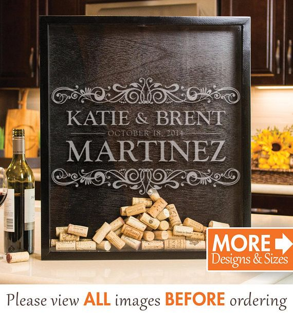 Personalized Wine Cork Holder (a.k.a. Drop Box) is handmade of pinewood and stained with either classic black or bombay mahogany. The shadow box can hold corks, beer caps, tickets, or cards and the glass front is exquisitely laser etched. A perfect wedding gift or to be used and an
