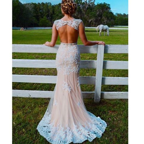 Backless Prom Dress Long Lace Evening Gown Mermaid open backs Fitted Prom Formal Dresses