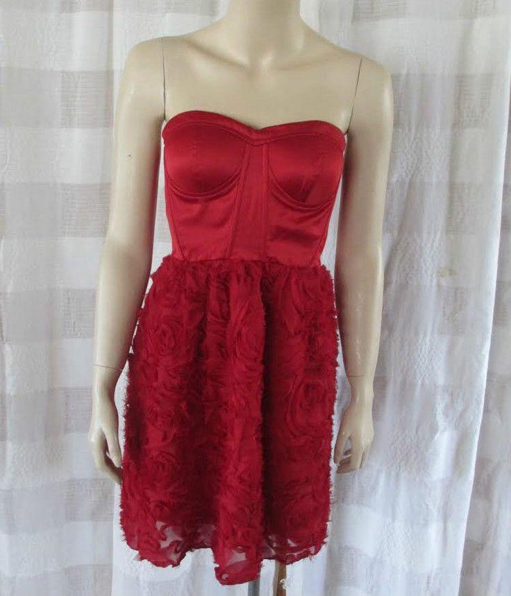 Snap Red Sweetheart Neckline Strapless Rosettes Skirt Mini Formal Dress Sz 3 S *  | eBay