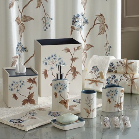 Croscill Christina Bathroom Collection Graceful Earthenware Forms With Subtle Vertical Fluting Are Adorned By Floral Decals