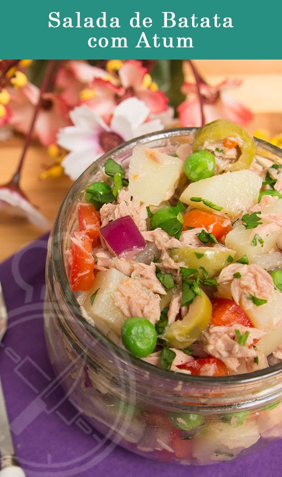 Salada de Batata com Atum e Ervilhas, perfeito para um almoço rápido leve.