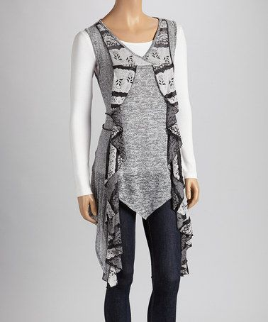 Take a look at this Black & Gray Ruffle Tunic by Christine Phillipë