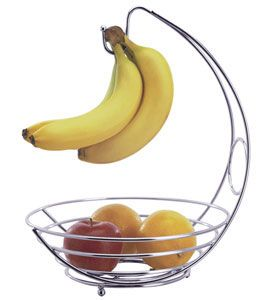 Add a stylish and functional storage solution to your kitchen counter top or dining table with the sleek Chrome Fruit Basket and Banana Holder.  This versatile kitchen accessory provides convenient storage for fresh fruit and includes a hanging hook that helps keep bananas or grapes ripe and free of bruises.Chrome
