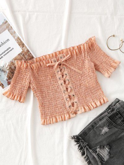 SHARE & Get it FREE | Smocked Off Shoulder Lace Up Top - Nude Pink SFor Fashion Lovers only:80,000+ Items • New Arrivals Daily Join Zaful: Get YOUR $50 NOW!