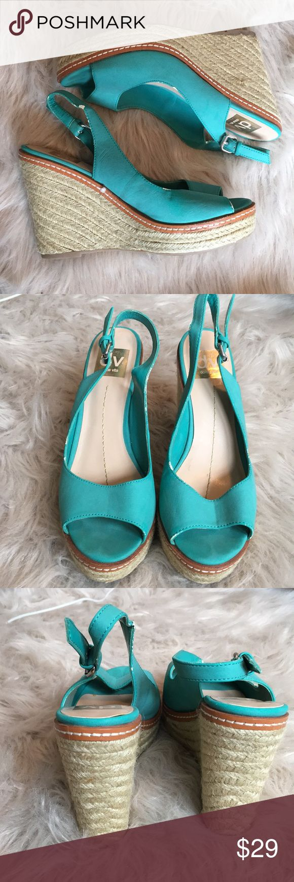 Dolce Vita Turquoise Wedges Turquoise Wedges with adjustable heel strap. Dolce Vita Shoes Wedges