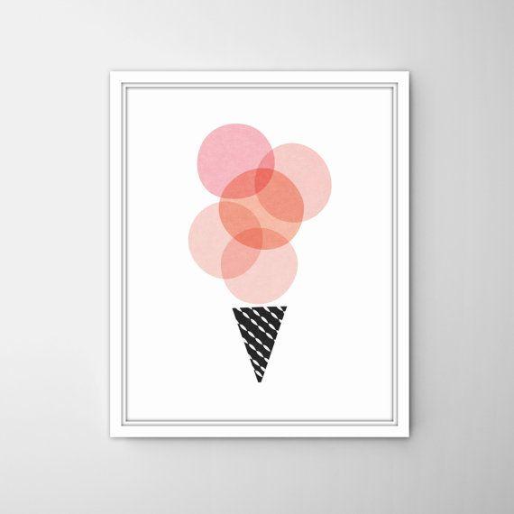 Pink and black icecream cone- pink and black scoops icecream print, Modern nursery decor-scandinavian nursery art-nursery wall decor