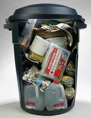 For your survival kit, use a portable container such as a large, covered trash receptacle. If you store your liquids at the bottom of your container, you'll reduce the chance of damage from leaking plastic bottles. Put food, first aid kit & clothes on top. Easy to grab & go if needed.