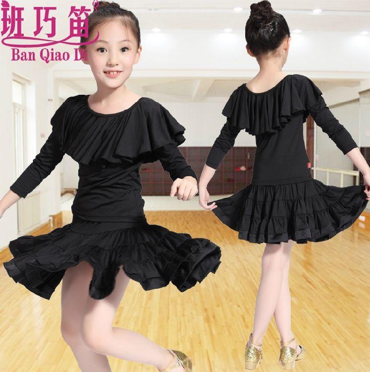 Pas cher manches longues fille enfants robe de danse latine tango cha cha rumba salsa costumes - Robe de danse de salon pas cher ...