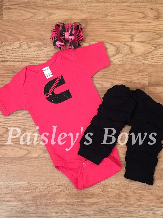 Hot pink and black glitter Cummins set  by PaisleyBows on Etsy