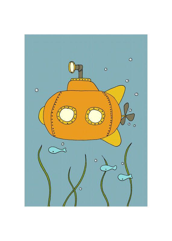 Submarine Art Print, Submarine Picture, Little Submarine, 5x7 Children's Art Print, Kids Wall Art, Under the Sea Nursery, Nautical