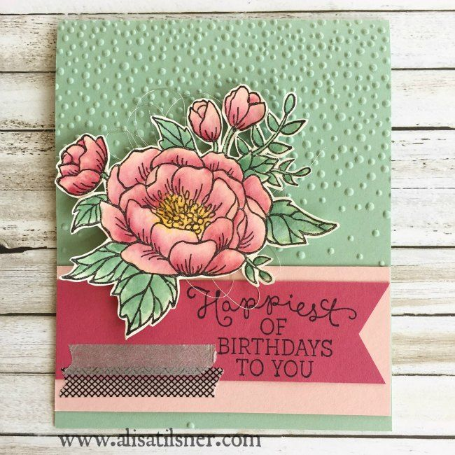 Stampin Up Birthday Blooms from the new Occasions Catalogue 2016.  The Artful Stampers Blog Hop. www.alisatilsner.com