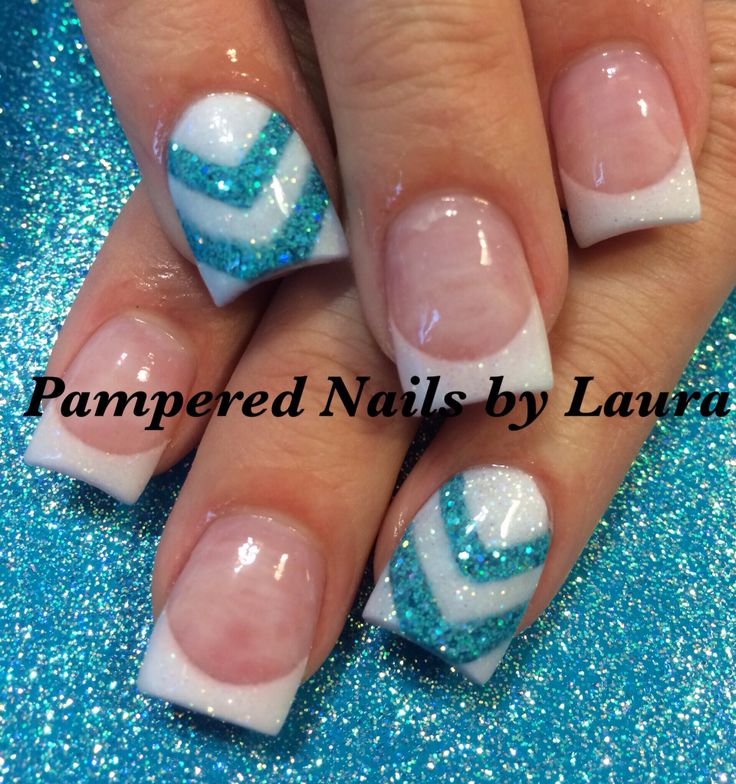 Blue and white chevron acrylic nails