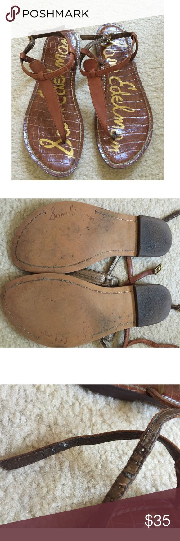 Sam Edelman Gigi Strap Sandals Brown Sam Edelman sandals. Used in good condition. Do not have original box. Sandal wear and tear shown in pictures. Left sandal strap is a bit worn. These are very comfortable sandals. Sam Edelman Shoes Sandals