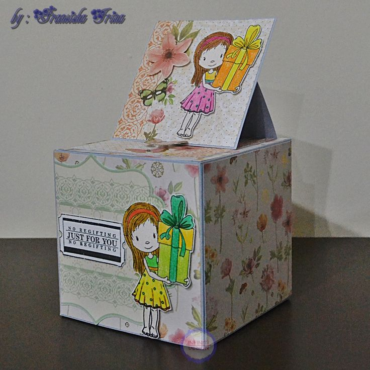 """10x10x10cm exploding box and easel card using """"the butterfly garden stack"""" from DCWV"""