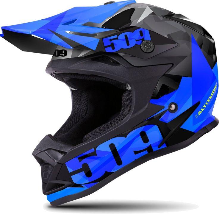 New 509 Altitude Snowmobile Helmet - Blue Triangles, LG, Large