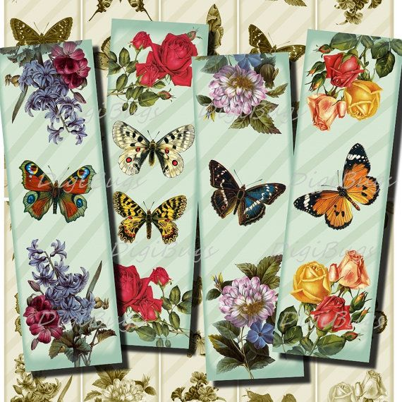 Printable Bookmarks - Romantic Flowers and Butterflies - Colorful Vintage Images, Instant Download, Digital File - DigiBugs