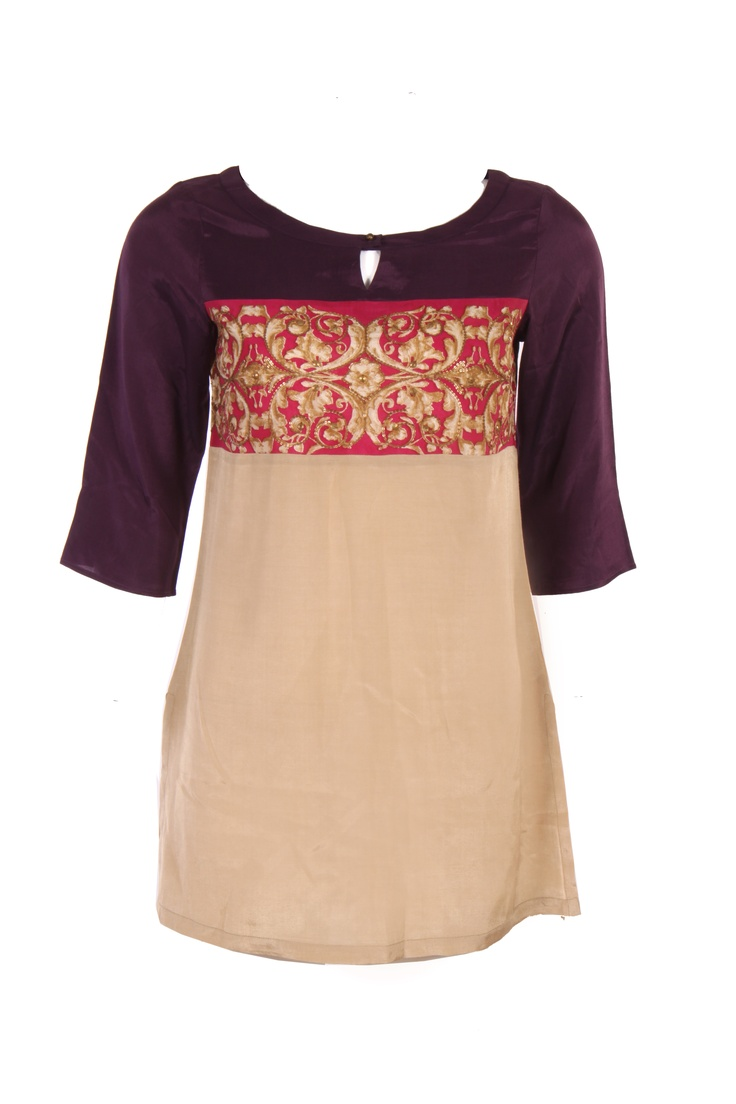 Beige Kurti In Tri Colour; Shantung Fabric; Centre Print Placement; Round Neck; Quarter Sleeve; 32 Inches In Length #Wishful #Clothing #Fashion #Style #Kurti #Wear #Colors #Apparel #Semiformal #Print #Casuals #W for #Woman