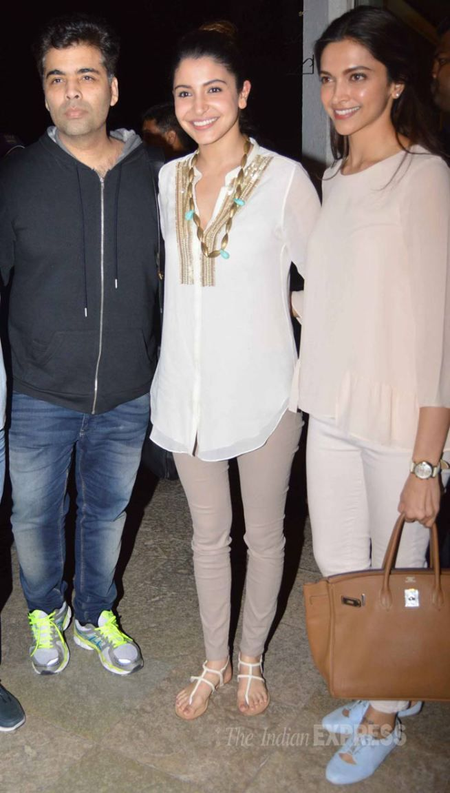 Deepika Padukone, Karan Johar and Anushka Sharma pose in Delhi after meeting MoS, I&B. #Bollywood #Fashion #Style #Beauty