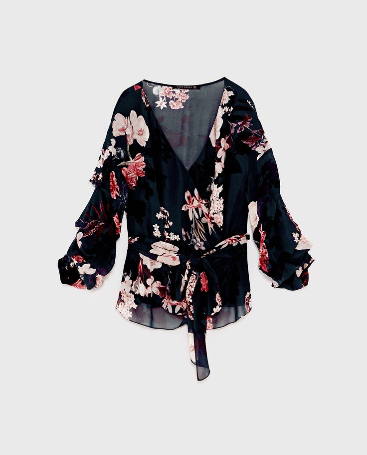 80 LV -  FLORAL PRINT WRAP BLOUSE from Zara