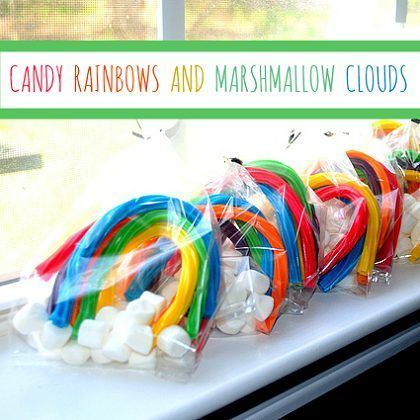 licorice rainbows with marshmallow clouds