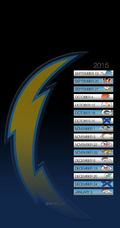 San Diego Charger's 2015 schedule! Can't wait! go chargers!!!