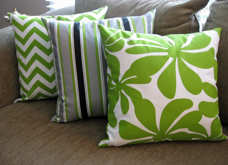 Black White And Green Throw Pillows : Decorative Pillow Covers, Set of Three 18
