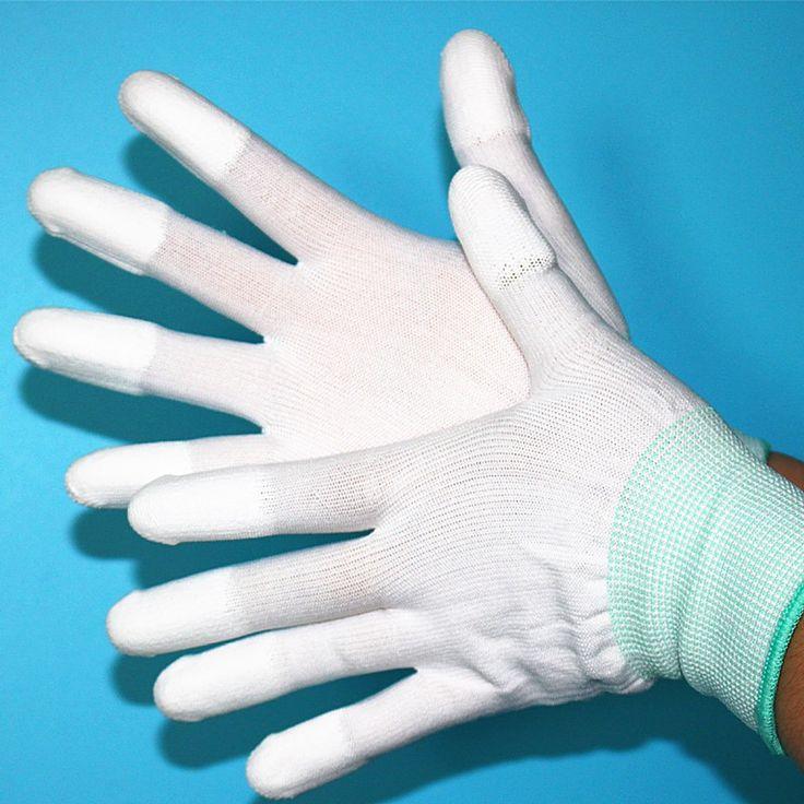 1 pair Sarung Tangan Anti Statis ESD Antistatik Sarung Tangan Kerja Elektronik pu dilapisi palm dilapisi jari PC Anti Slip untuk Perlindungan Jari