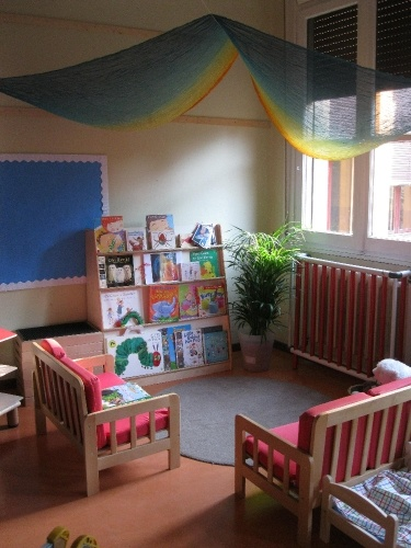 book corner- I would love to set one up in the preschool room with a selection of books linking to the stories and/or theme for the term, books that would be shared and used through the term and changed each term.