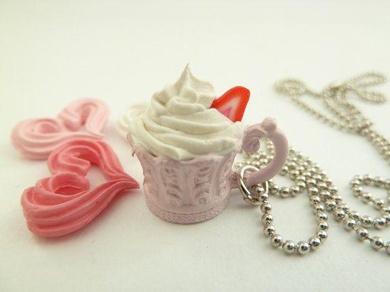 Antique princess cup necklace Pendant alice in wonderland miniature pink Charm
