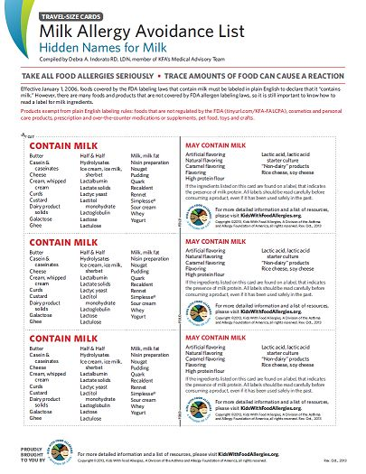 The following ingredients found on a label indicate the presence of milk protein. All labels should be read carefully before consuming a product, even if it has been used safely in the past.