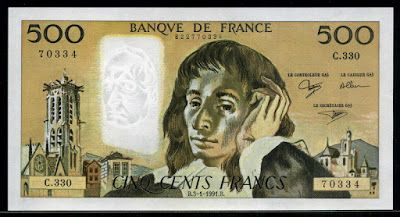 France money 500 French Francs Blaise Pascal banknote of 1991, issued by the…