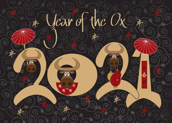 Chinese New Year Of The Ox 2021 Large Date With Oxen Umbrellas Card Ad Ad Ox Chinese Yea Chinese New Year Card New Year Card Design Umbrella Cards