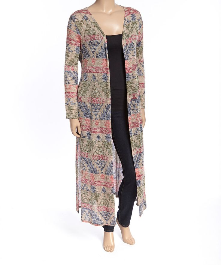 Love this Derek Heart Taupe Southwestern Duster - Plus by Derek Heart on #zulily! #zulilyfinds
