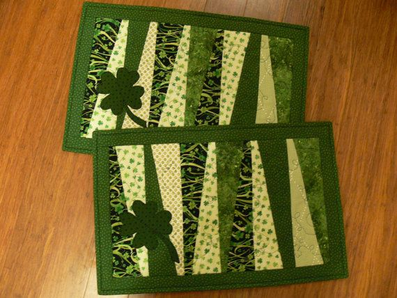 St. Patricks Day Quilted Placemat set of 2 by quiltedoccasions, $19.00  Cute Quilted Place mats.. entered into the QQQ Contest :-)