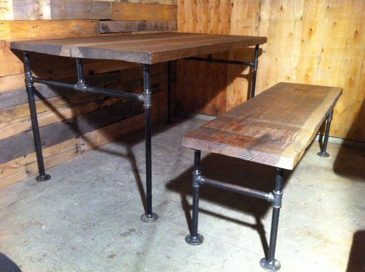 Custom Made Industrial Cast Iron Pipe Douglas Fir Dining Table