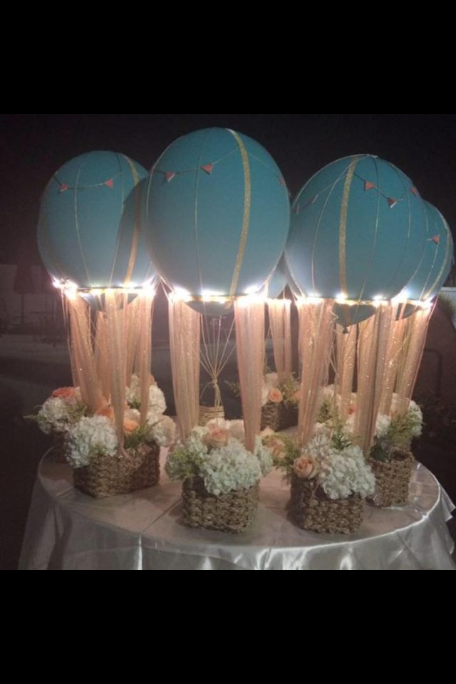 Hot air ballon centerpieces made these myself party for Birthday balloon centerpiece ideas