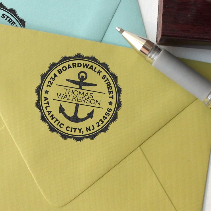 how to return address wedding envelopes%0A Custom return address stamp Nautical anchor design with a wood handle   single person or a couple or family