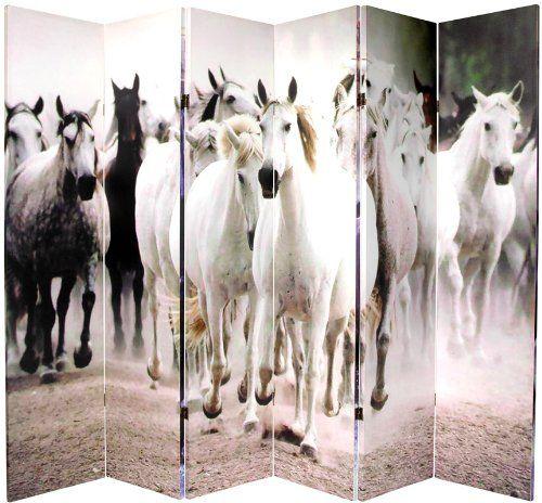 Unique Decorative Accent - 6ft. Herds of Black & White Horses Art Print Floor Screen - 2 Sizes