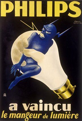 "• ""Philips has defeated the eater of light""  Light bulb / Blue Devil Vintage Poster / Vintage Advertisement )"