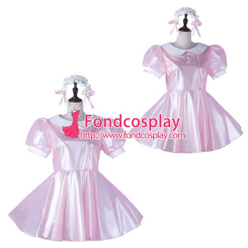Sissy maid satin dress lockable Uniform cosplay costume Tailor-made[G2231]