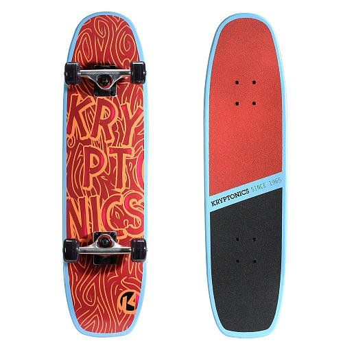 """Kryptonics 31 Inch Supreme Series Skateboard - Grains Red. 31 inch x 8 inch 7-ply pro concave maple deck with a double kicktail. 2 piece Split 80AB grip tape (Horizontally) with thin logo print on top deck. 5.5 inch Heavy-duty aluminum Krypto """"Seagull Style"""" trucks with an all stone finish. 58 millimeter x 36 millimeter, PU Injected polyurethane wheels with traction grooves. Carbon steel ABEC 5 bearings."""