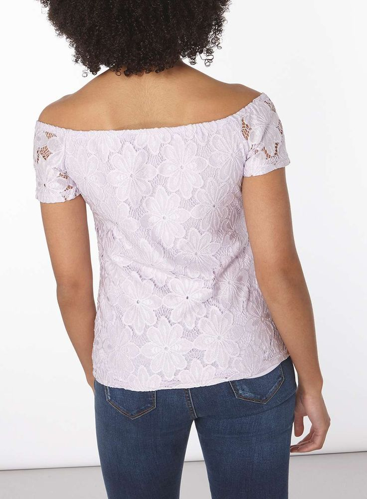 Womens Lilac Lace Bardot Top- Purple