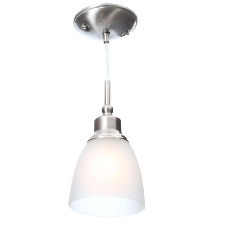 Commercial electric 1 light brushed nickel mini pendant with frosted white glass shade 3 pack