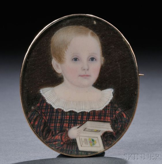 American School, 19th Century Portrait Miniature of a Young Child of a Mattapoisett, Massachusetts, Sea Captain.