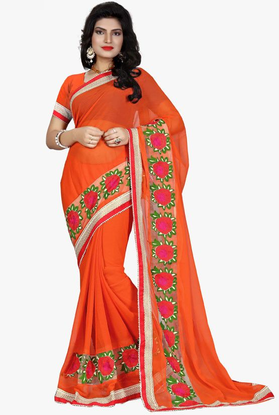 Tangy Orange Swiss Chiffon Saree