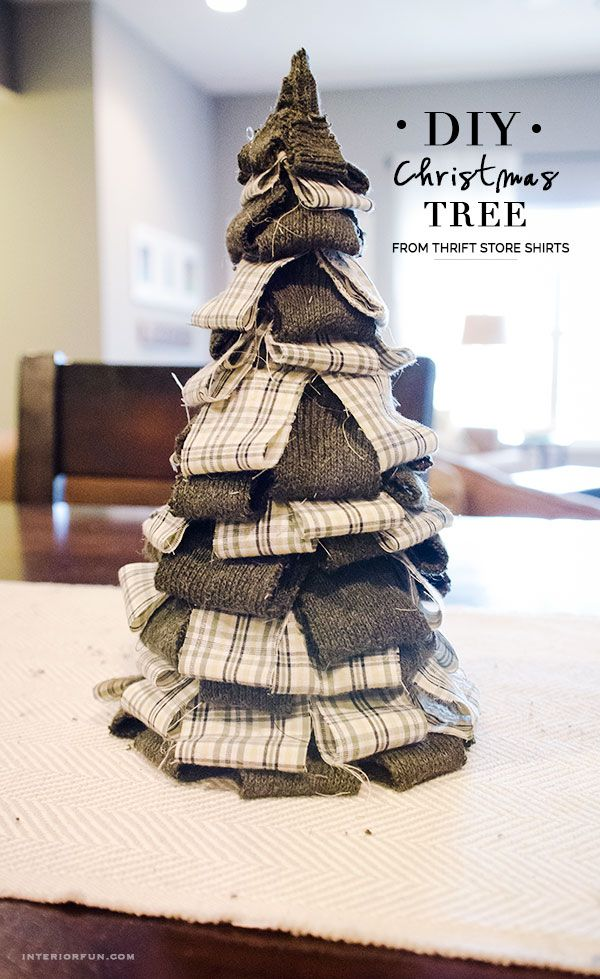 Cute Christmas tree craft using a sweater and a plaid shirt from the Thrift Store! Such a great way to get cheap fabrics!